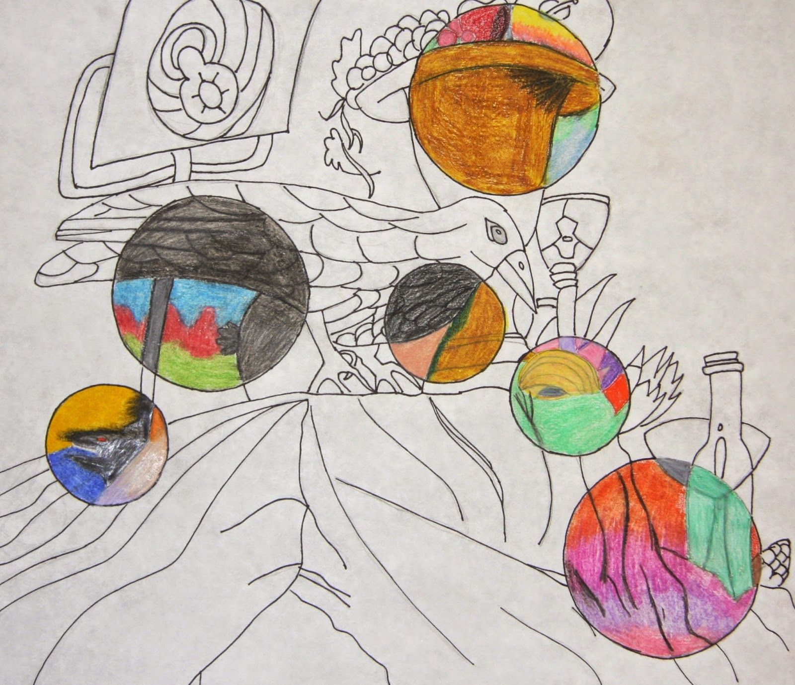 Ink And Colored Pencil Still Life