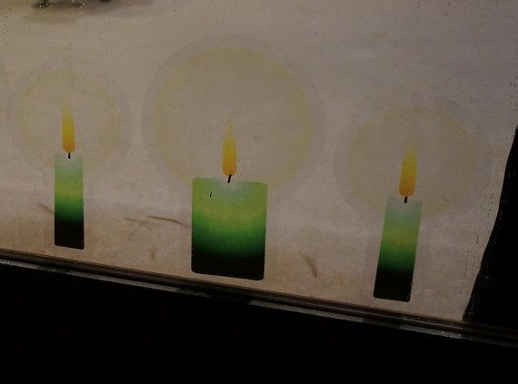 Green Candles Christmas Static Clings