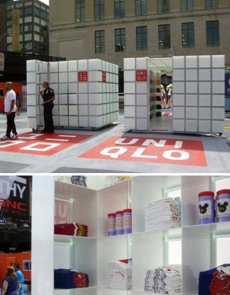 Cube-shaped pop-up shop for Japanese fashion brand UNIQLO in Manhattan. #popup #retail #store