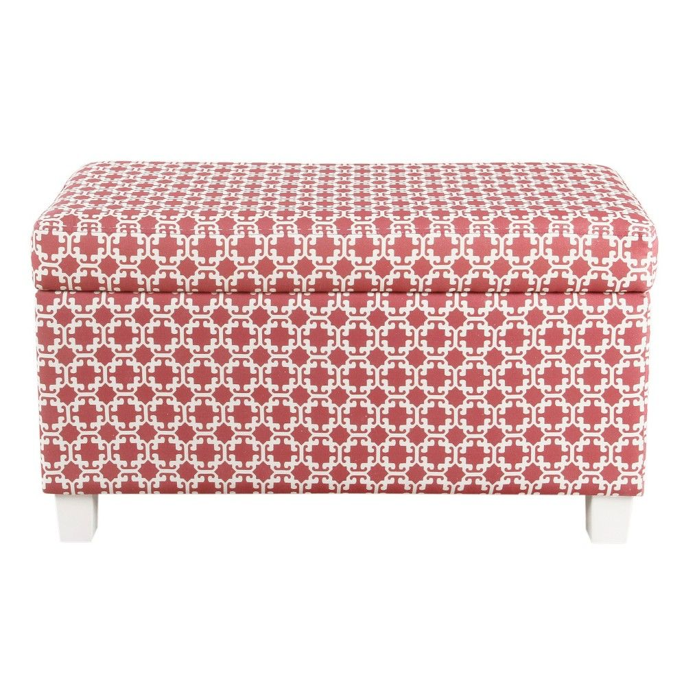 Superb Kids Storage Bench Pink White Lattice Homepop Products Gmtry Best Dining Table And Chair Ideas Images Gmtryco