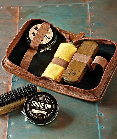 The salty holiday sidewalks make for dirty shoes; clean them up with the Shine On Shoe Kit from Carbon2Cobalt