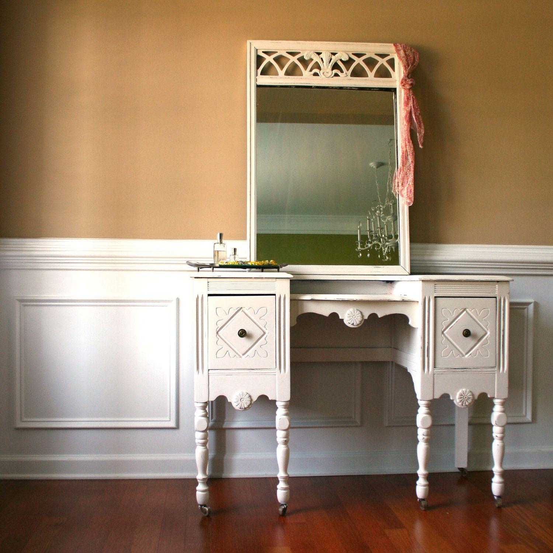 1930s vanity desk and mirror antique white cream bohemian chic 1930s vanity desk and mirror antique white cream bohemian chic boudoir closet geotapseo Gallery