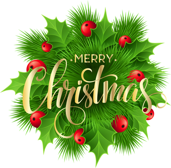 Merry Christmas Pine Decoration PNG ClipArt Image Merry