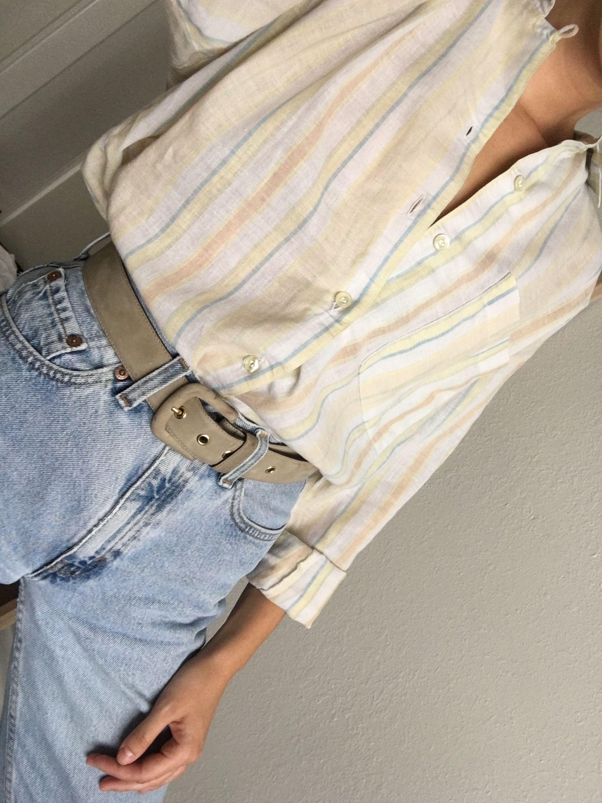 Vintage 80s Calvin Klein Sport Linen Cotton Stripe Blouse And 90s Light Wash Levi S Calvin Klein Sport Striped Blouse Levi