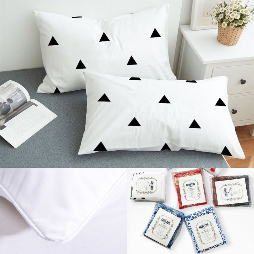 Stylish Pillowcase Black And White Pillow Cover Bedding Set Of 2 King Queen Unbranded Modern Slee Black And White Pillows White Pillow Covers Pillow Cases
