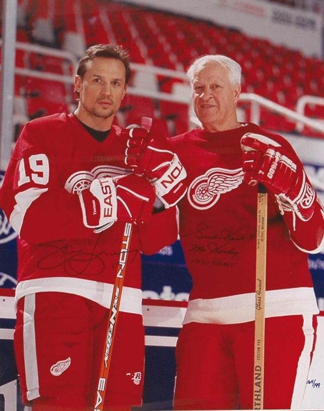 99d07fc75 Steve Yzerman and Gordie Howe  two of the greatest players in Red Wings  history.