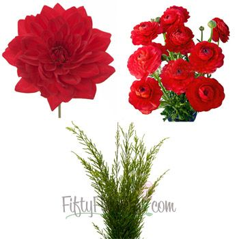DIY red dahlia (15 stems) and ranunculus (30 stems) with 1 bunch honey bracelet greenery
