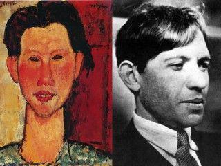 Chaim Soutine with portrait by Modigliani