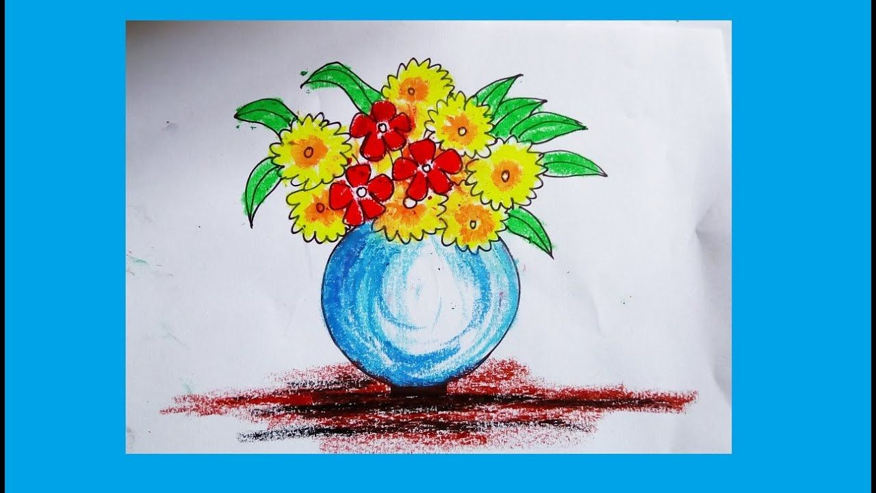 Flower Pot Painting With Oil Pastels Step By Step Flower Vase Painting Flower Drawing Flower Vase Drawing Oil Pastel