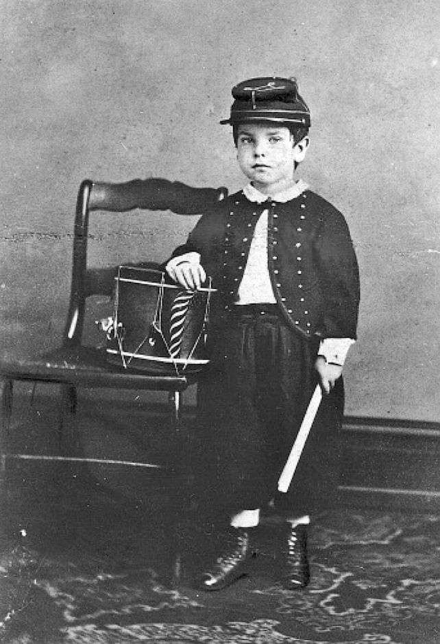 A young boy named P.H. Martin wearing the uniform of the Union Army
