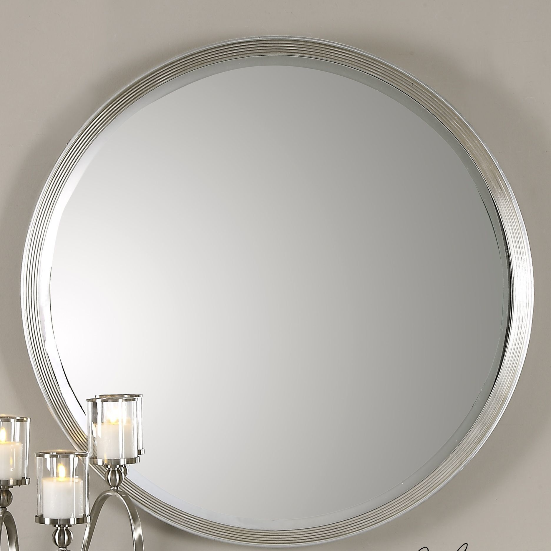 Round Silver Beveled Accent Wall Mirror Mirror Gallery Wall