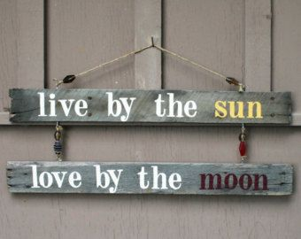 sun moon beach decorations | ... Moon H anging Driftwood Sign, Rustic Home Decor, Beach Home Decor