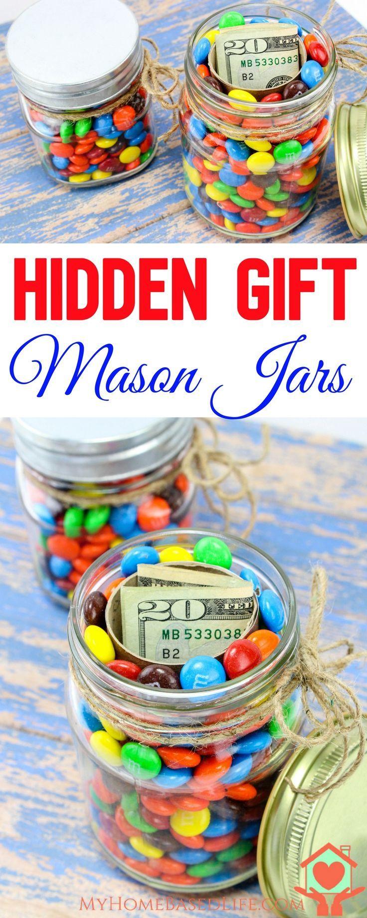 Hidden Gift Jars | Christmas Gift Jars | Gifts in a Jar | Christmas Jar Gift | DIY Christmas Gifts | Money Gift Idea | #giftsinajar | #giftideas | Birthday Jar Gift | Easter jar Gift | Gradutation Jar Gift |  via @myhomebasedlife