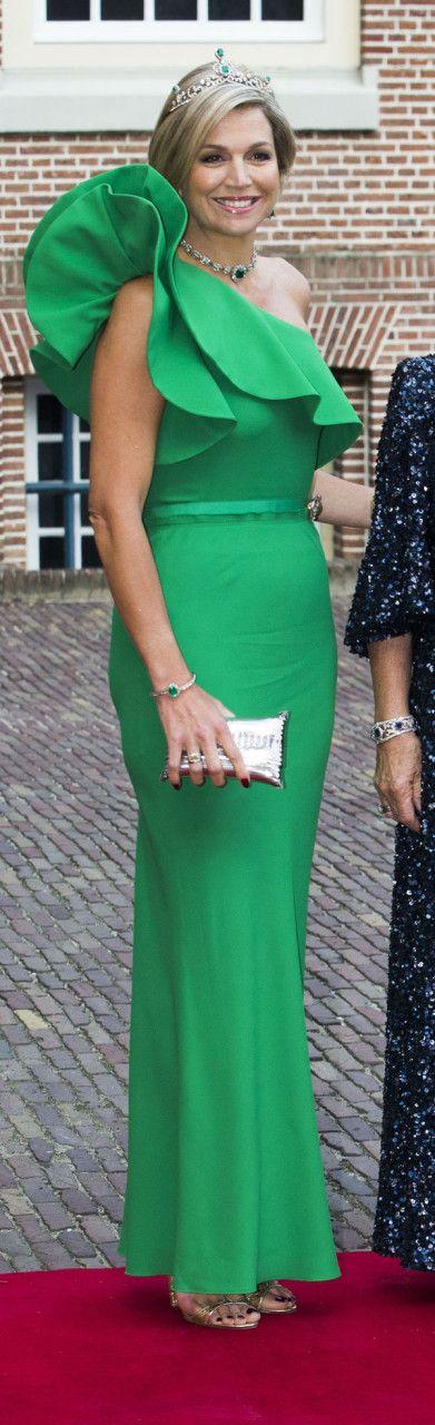 Maxima wearing a Lanvin gown, Miu Miu sandals with a Celestina clutch.