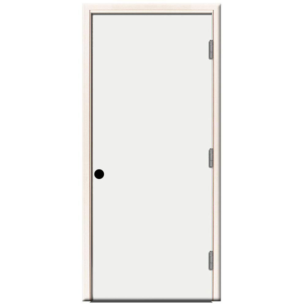Steves Sons 30 In X 80 In Premium Flush Primed White Left Hand Outswing Steel Prehung Front Door With 4 In Wall Stfl Pr 30 4olh Best Front Doors Steel Doors Traditional Doors