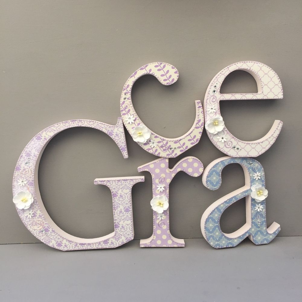 Standing Metal Letters Shabby Chic Baby Lilac White Wooden Letters Free Standing Nursery