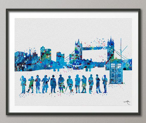 Dr Who all 12 Doctors front London Watercolor Print by CocoMilla #12doctor