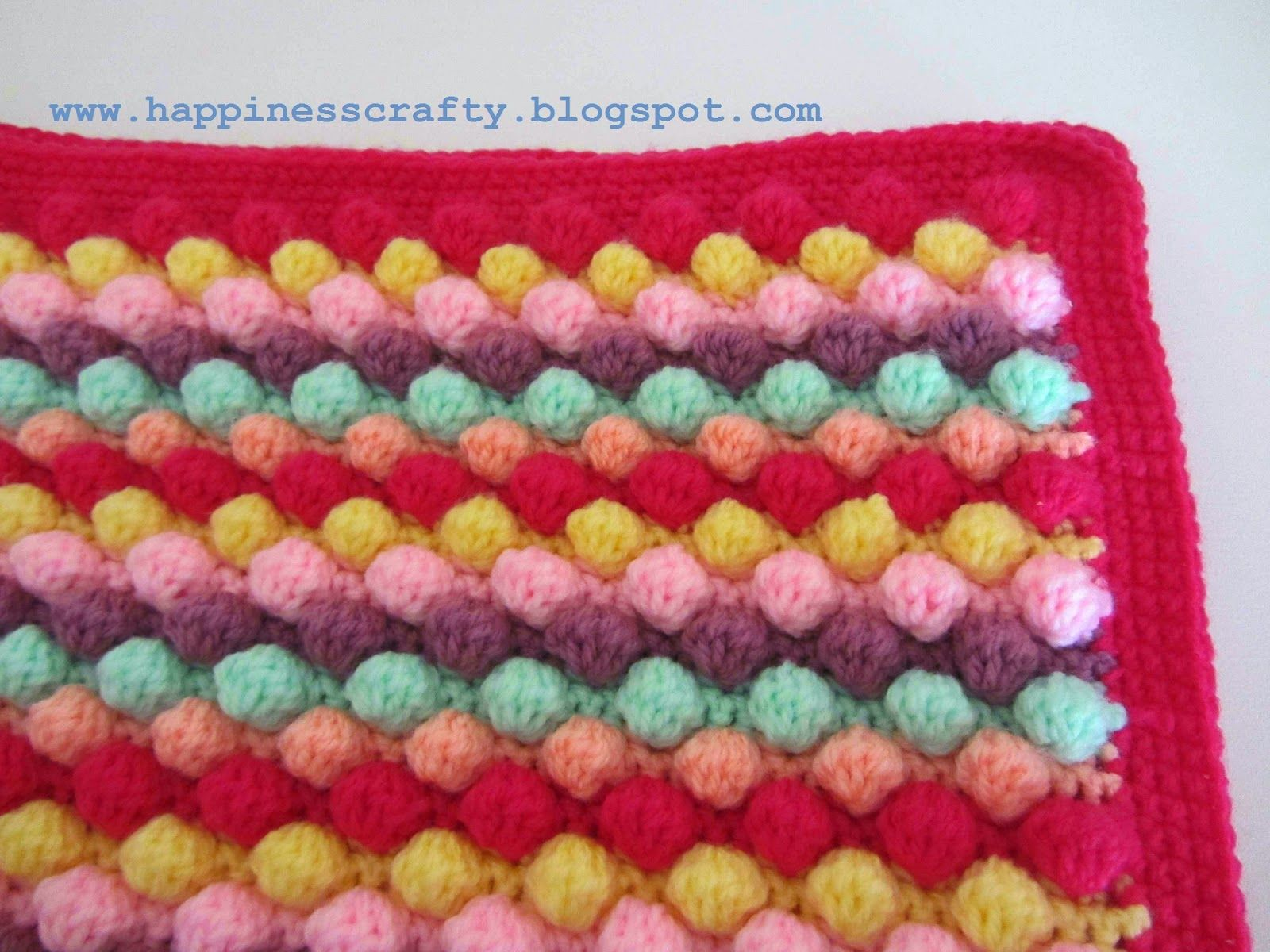 Knitting Pattern For Bobble Blanket : Happiness Crafty: Crochet Baby Girl Bobble Blanket ~ Free Pattern crochetin...