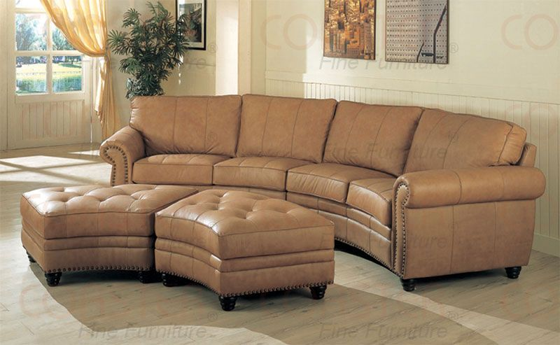Gorgeous Curve Leather Buckskin Color Sectional Sectional Sofa With Recliner Curved Couch Curved Sofa