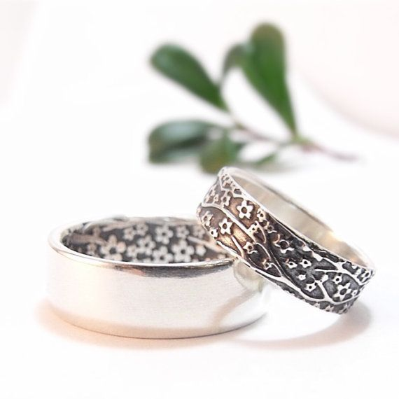 Silver Cherry Blossom Wedding Band Set - Wedding Rings for Men and Women