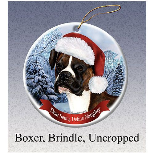 Boxer Brindle Uncropped Howliday Dog Christmas Ornament