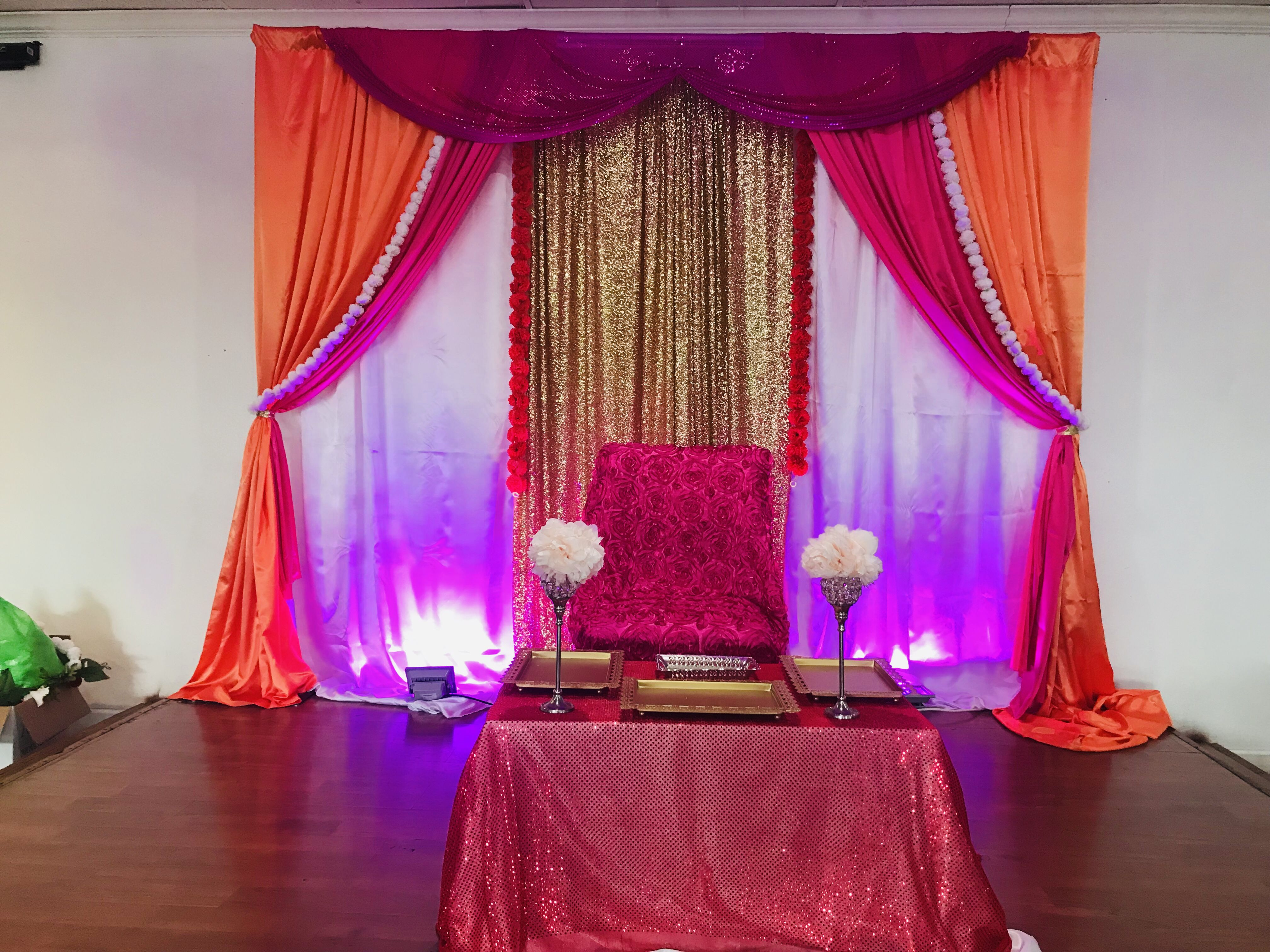 Indian traditional baby shower decorations #pink #orange # ...