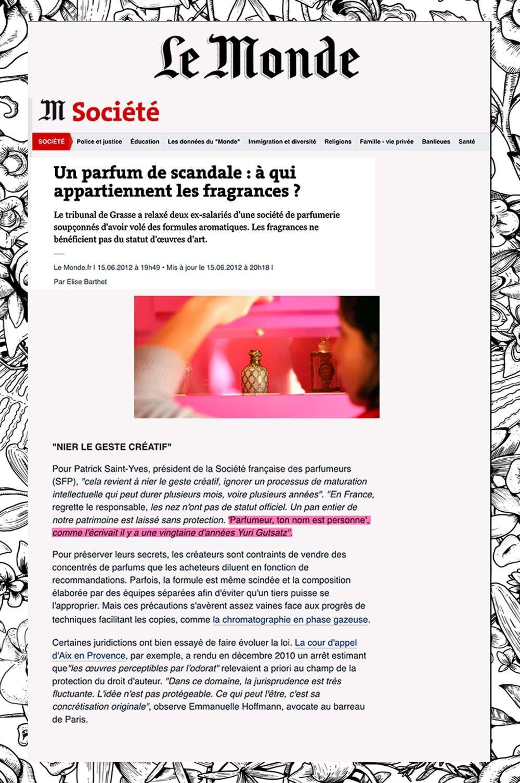June 2012 / Le Monde Yuri Gutsatz the Visionary Perfume