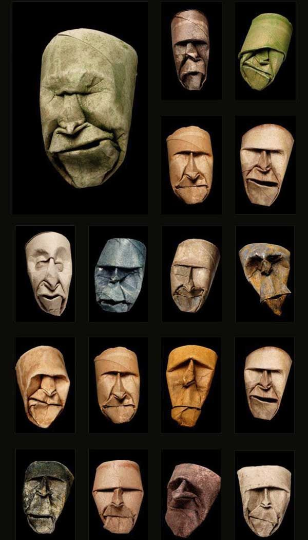 designverb: Junior Jacquet creates some oddly familiar and intriguing faces using the the brown chipboard tube from an empty toliet roll! I'm not sure what to make of them, but making art from trash is always cool! http://www.designverb.com/2009/08/05/junior-jacquet-toilet-roll-faces/