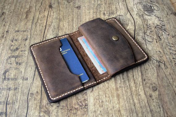 Leather Wallet Men Purse Wallet Brown With Coin Pocket Leather