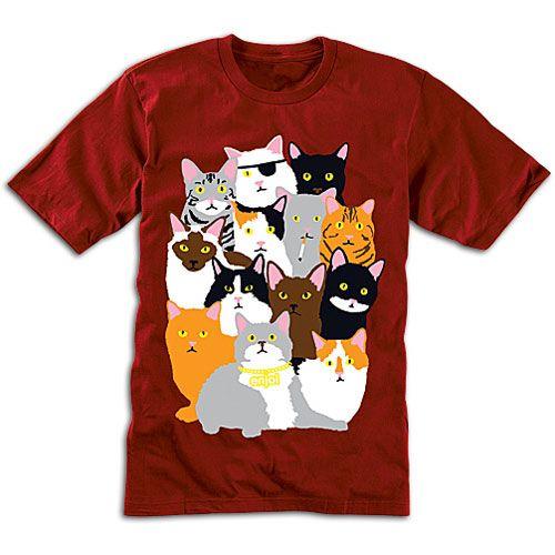 Enjoi Cat Collage T Shirt Men's Skate Clothing Red