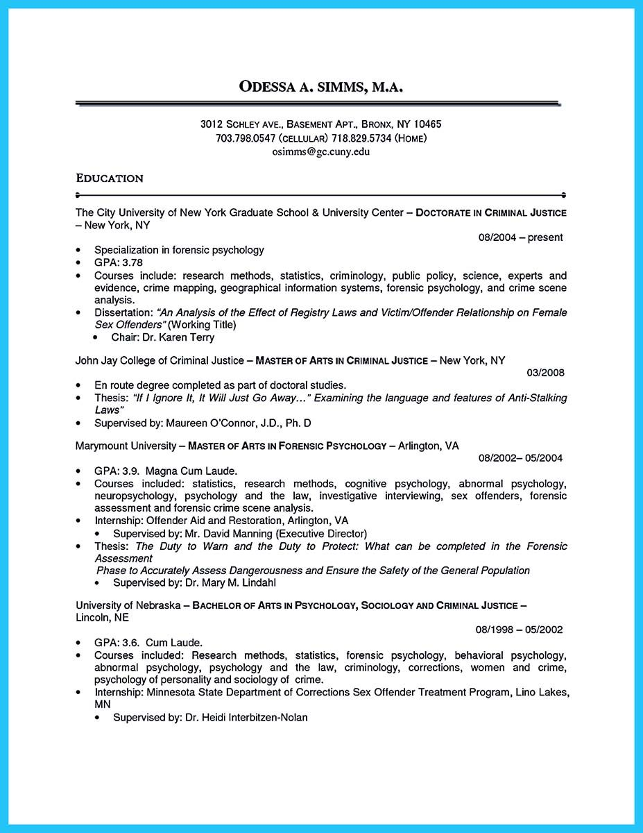 cool best criminal justice resume collection from