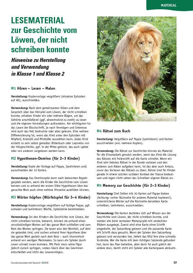 Lesematerial zur Geschichte vom Löwen, der nicht schreiben konnte ...