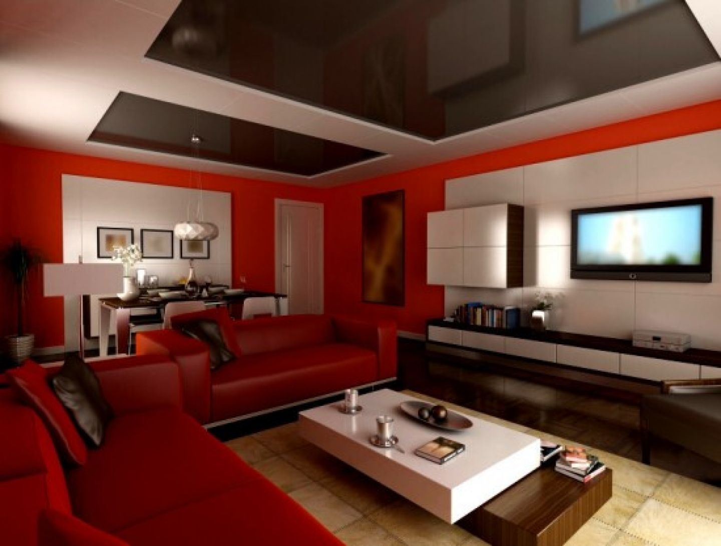 design living room paint colors ideas modern red white living room ...