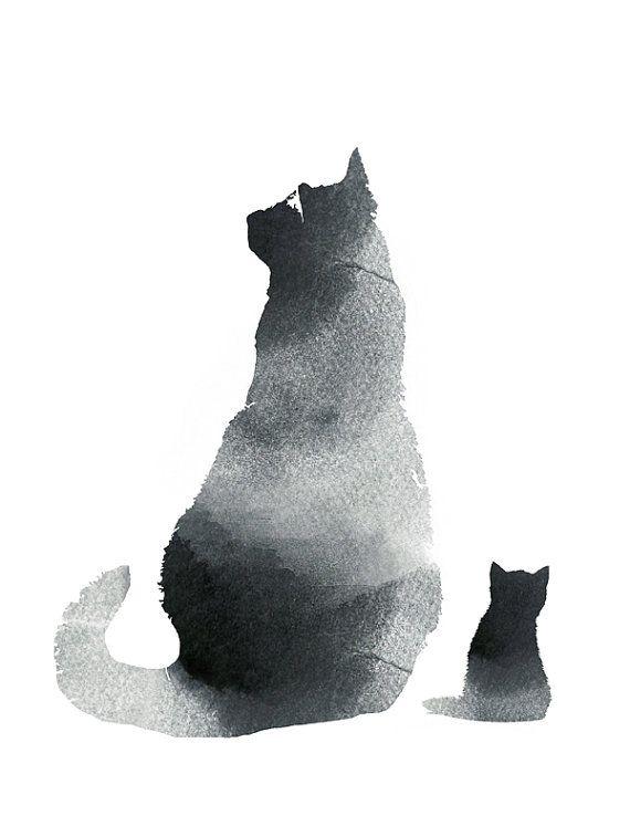 Cat Wall Decor black cat wall art, art print, watercolor black & white cat print