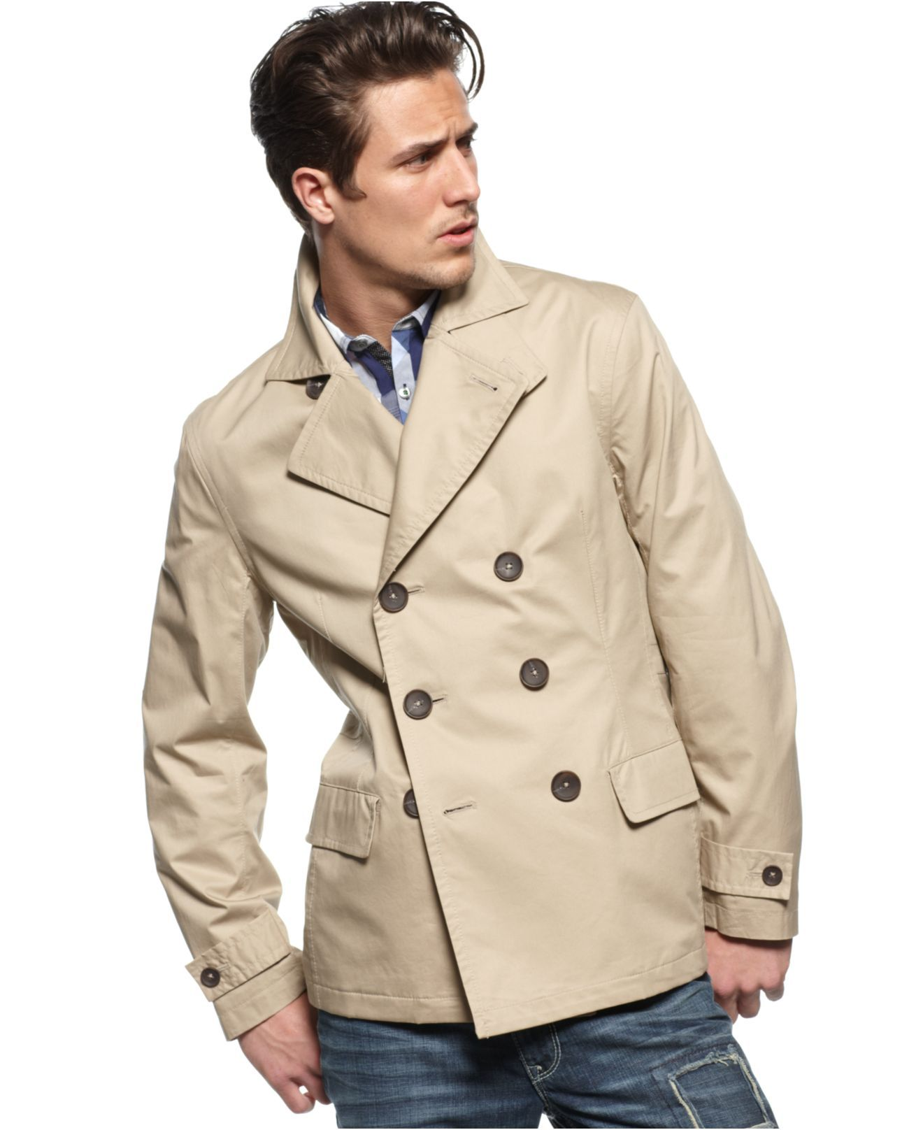 Inc International Concepts Coat Double Breasted Trench Coat Mens Coats Jackets Macy S Pin For Pinterest Trench Coat Trench Coat Men Mens Coats [ 1616 x 1320 Pixel ]