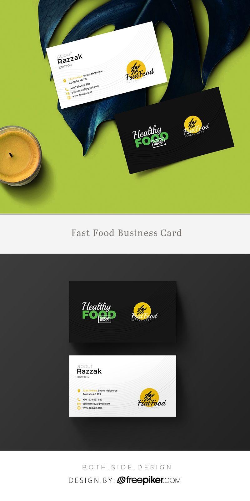Freepiker Food And Restaurant Business Card Template With Food Business Cards Templ Restaurant Business Cards Food Business Card Food And Restaurant Business