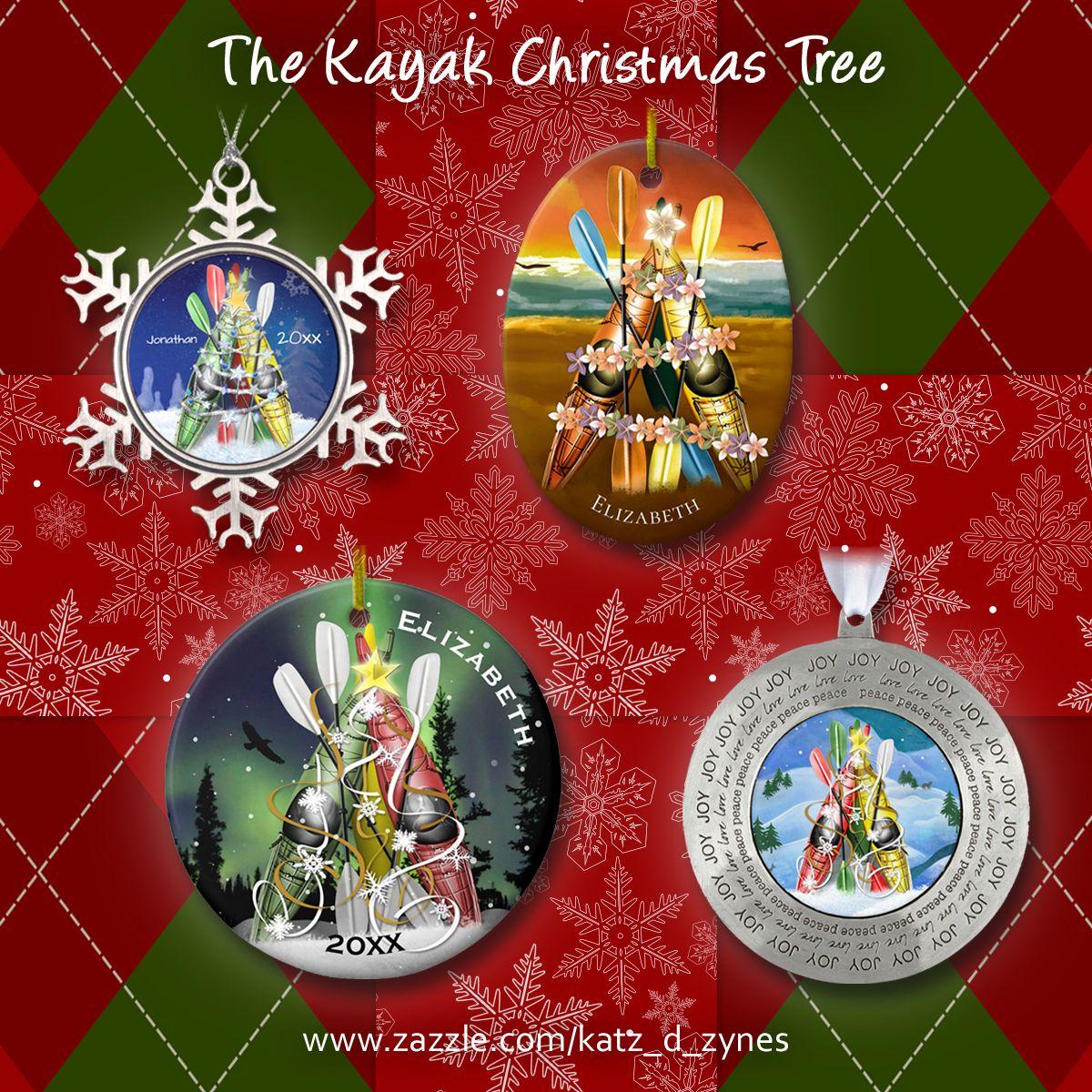 Kayaking Christmas ornaments featuring The Kayak Christmas ...