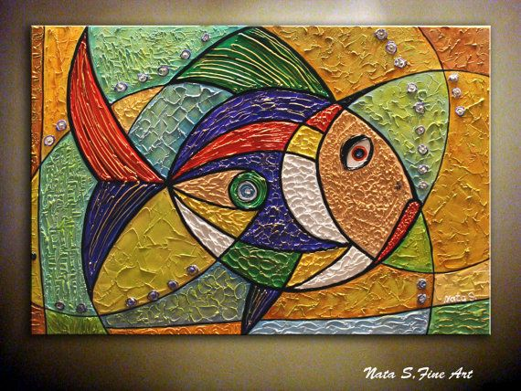 Original thick texture abstract golden fish by - Cuadros con peces ...