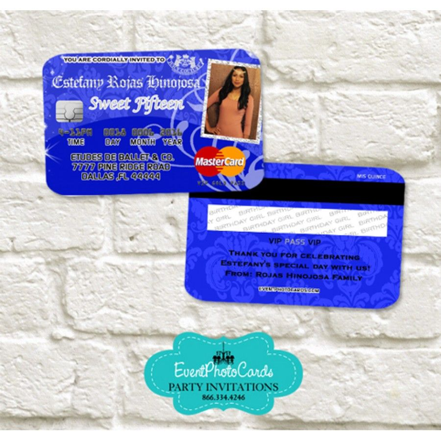 juicy couture party card invitations royal blue - Royal Blue Quinceanera Invitations
