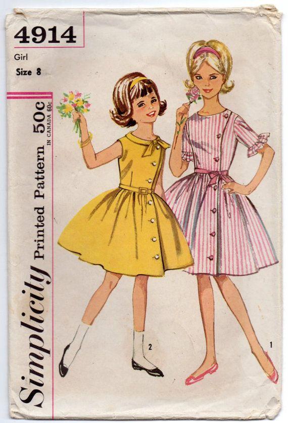 4d6d8edd6 Vintage 60's #Simplicity 4914 #Pattern Girls One Piece Dress A8 by ...