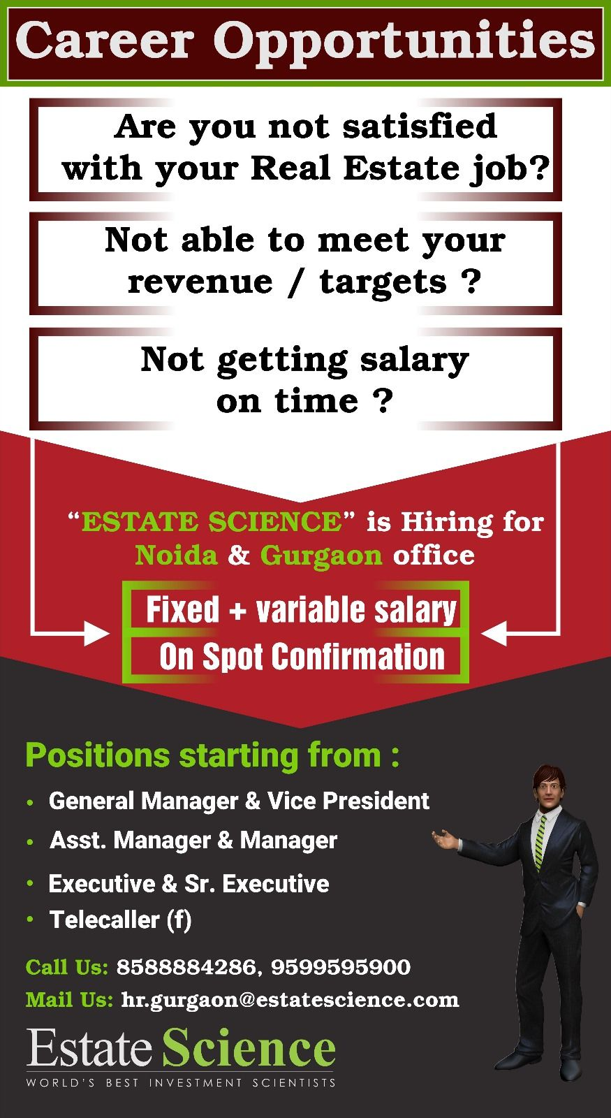 Estate science is hiring for #Gurgaon and #Noida Office, Get the ...