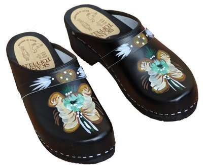 Traditional Handpainted Swedish Kurbits Skanetoffeln Clogs Clogs Leather Clogs Swedish Clogs