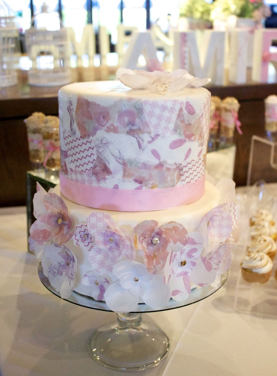 Cake Decorated With Wafer Paper Flowers And Wafer Paper Decoupage