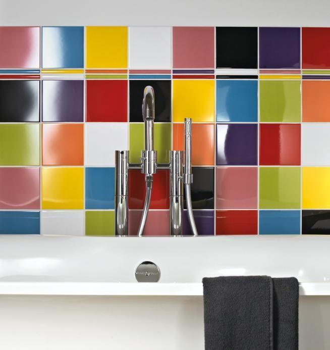 Rainbow Coloured Tiles Are Ideal For A Bright Bathroom
