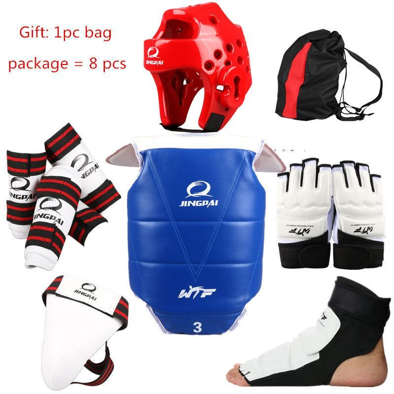 Taekwondo Protectors Full Set Of 8 Pcs Adult Kids Helmet Chest Head Protector Shin Guard Crotch Hand Foot Guard One Gift Bag Superior Materials Pens, Pencils & Writing Supplies