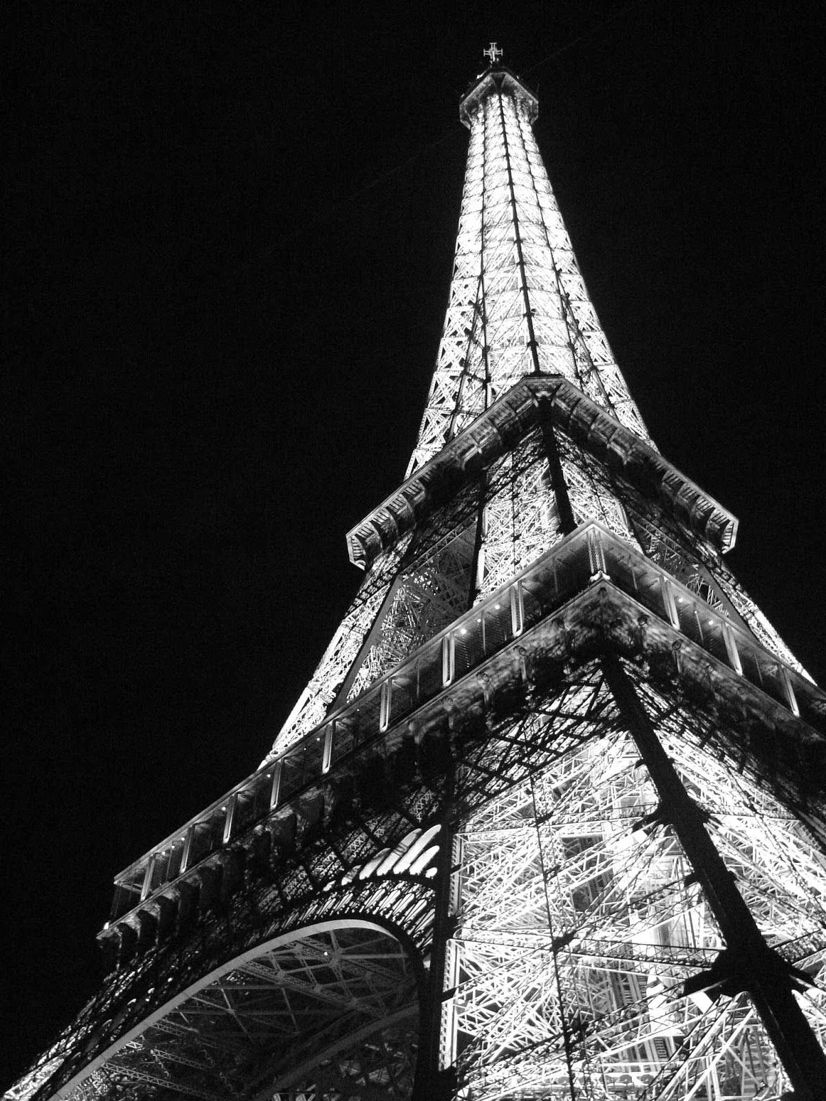 Eiffel Tower Paris at night Black and white Photo Paris