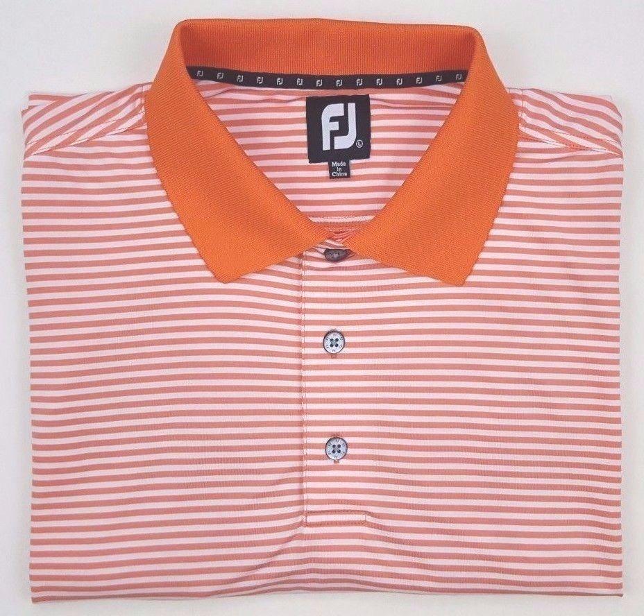 Footjoy Polo Large Striped Orange White Mens Golf Shirt Size Sz No