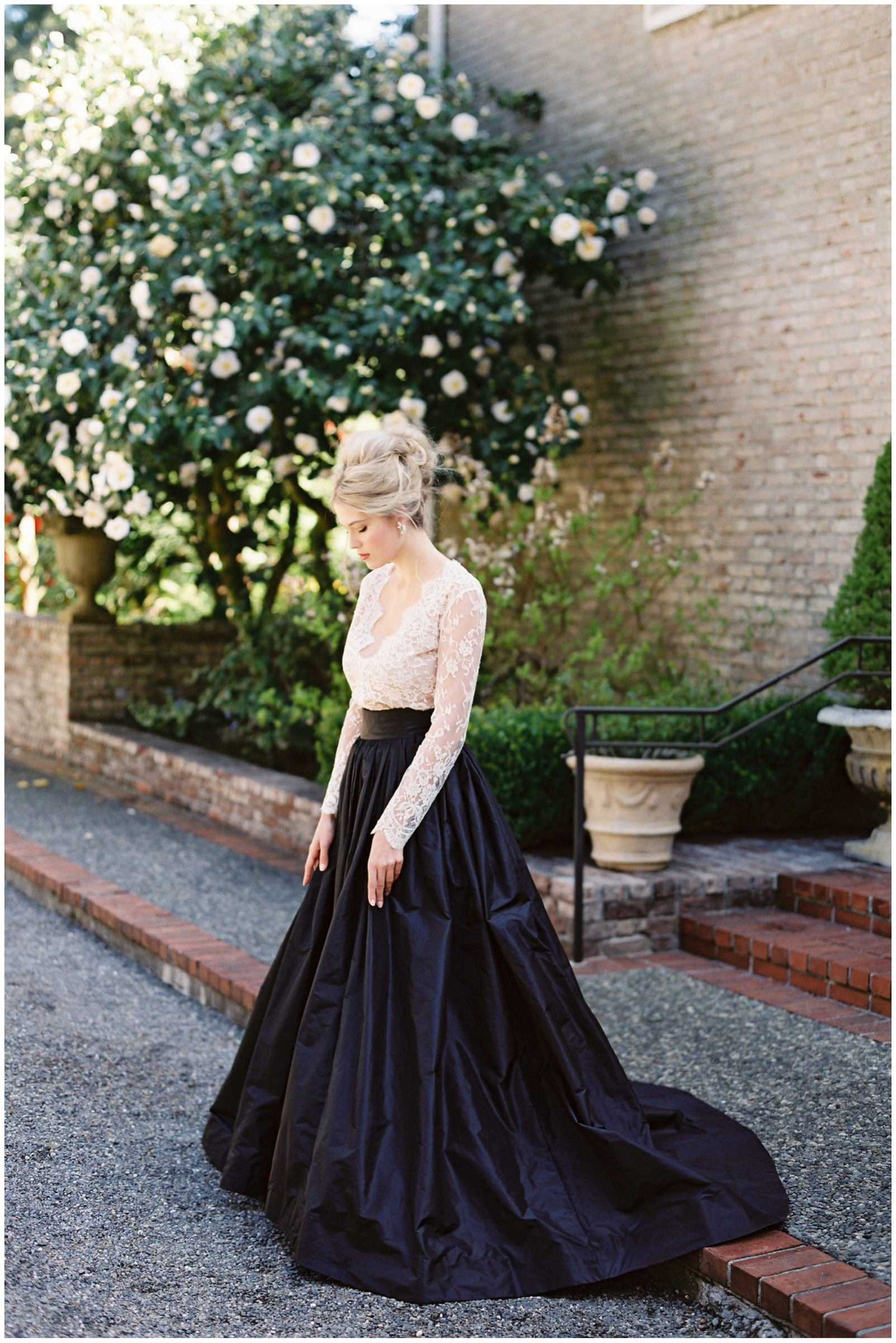 Long sleeves dark navy blue wedding dress with images