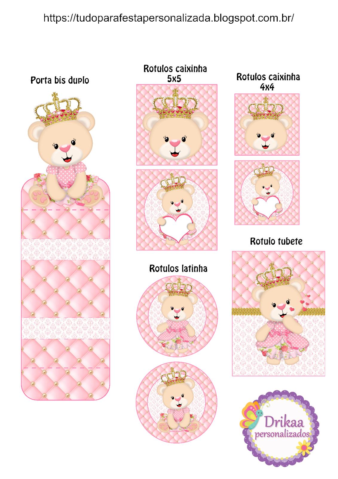 Kit Ursinha Princesa Para Imprimir Gratis Convite Ursinha