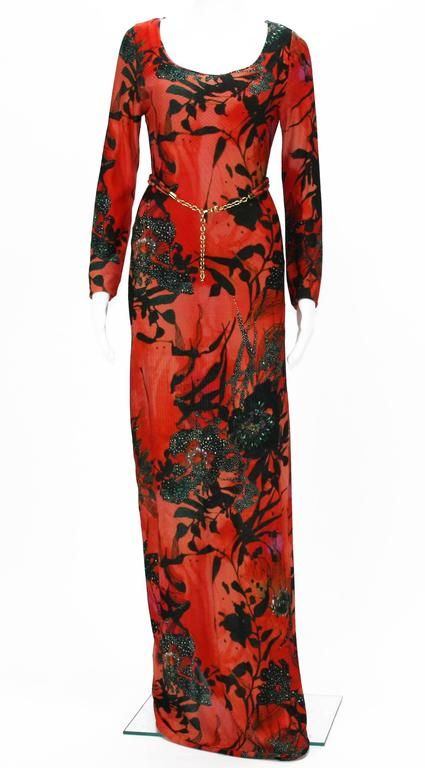 ETRO Jersey Red Black Floral Print Long Dress with Belt
